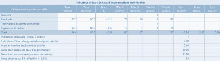 Indicateur n°2 - Indicateur d'écart de taux d'augmentations entre les femmes et les hommes - Indicateur d'écart de taux d'augmentations entre les femmes et les hommes.